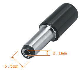 DC barrel plug (OD-5.5mm, ID-2.1mm)