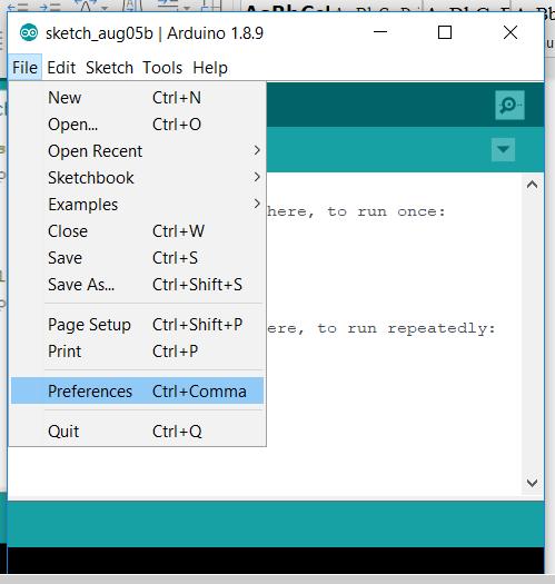 Arduino preference menu