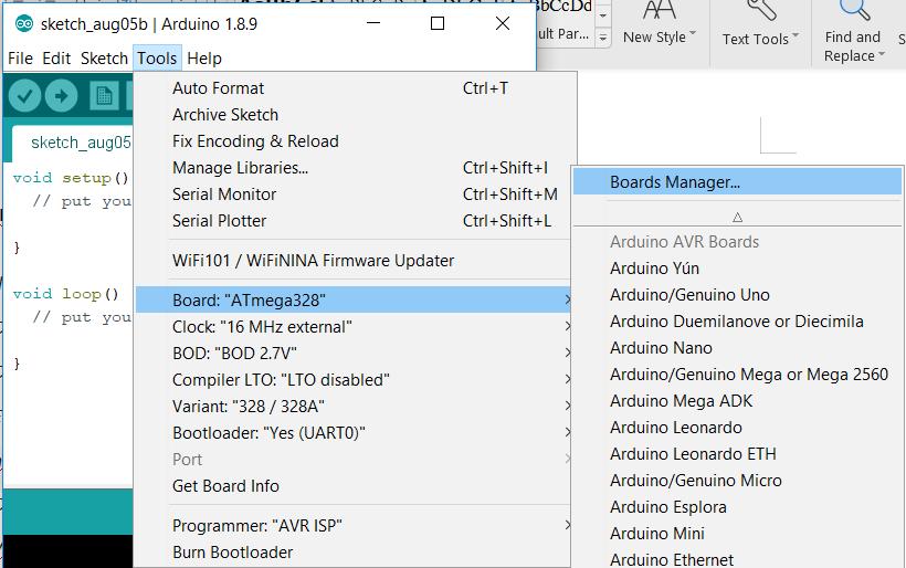 Arduino board selection