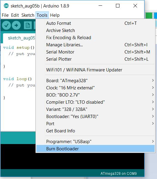 Burn Arduino bootloader into ATMEL ATmega328 microcontroller