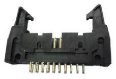 IDC header connector with side locking latch
