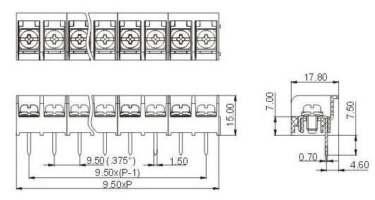 Barrier moun terminal 9.5mm pitch dimension drawing