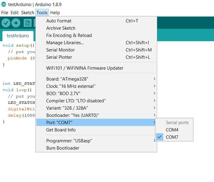 Select Arduino USB programming port.