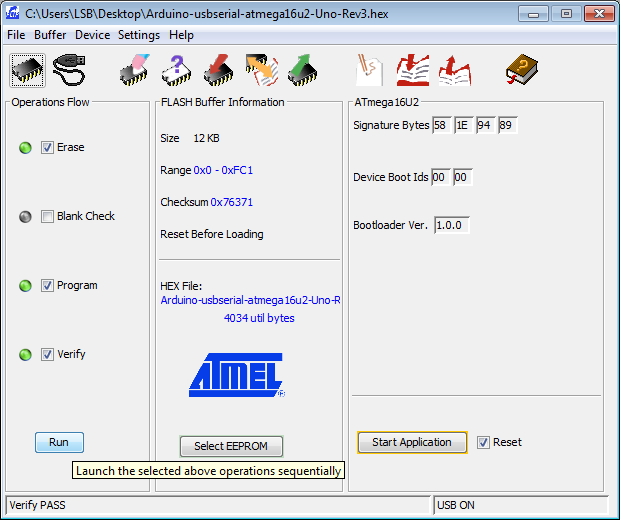 ATMEL FLIP software interface loading Arduino USB serial firmware to ATMEGA16U2