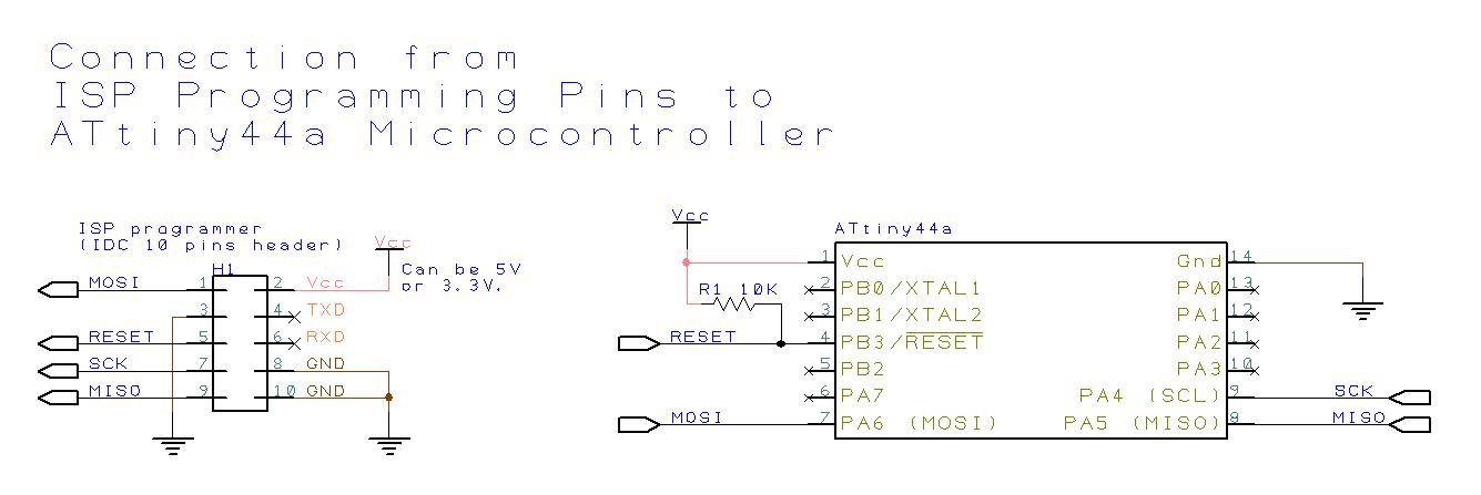 ISP Программирует контакты для подключения микроконтроллера ATtiny44A.