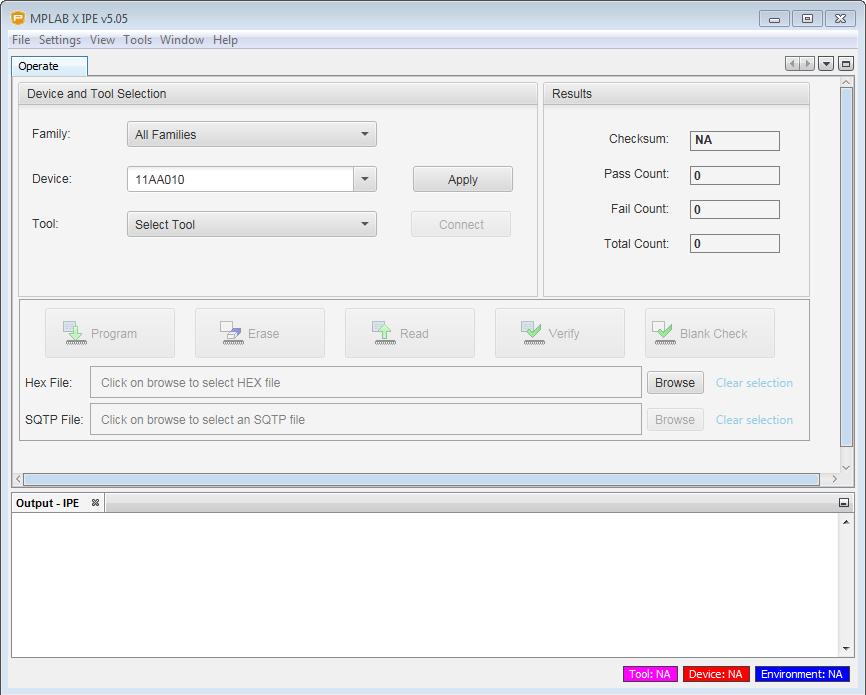 IPE software launch up screen shot