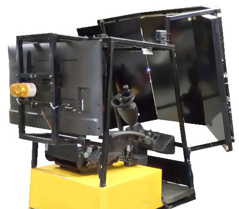 Virtual environment display for machine simulator (safe training)