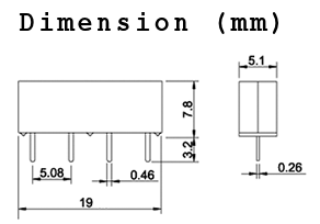 12V mini relay dimension (mm)