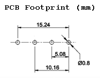 12V mini relay pcb footprint (mm), 5.08mm pitch