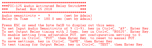 Audio Sensor Relay configuration setting screenshot.